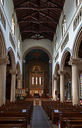 Interior Wilton Italianate church, Wiltshire, England, UK nave and view to apse mosaic by Gertrude Martin 1881-1952 built 1844