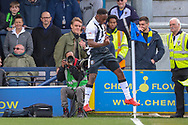 Gillingham attacker Brandon Hanlan (7) celebrating after scoring goal to make it 1-1 during the EFL Sky Bet League 1 match between AFC Wimbledon and Gillingham at the Cherry Red Records Stadium, Kingston, England on 23 March 2019.