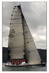 The third days racing at the Bell Lawrie Yachting Series in Tarbert Loch Fyne, Perfect conditions finally arrived for competitors on the three race courses..GBR744R Hotel California in Class one...