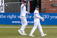James Vince  & Lewis McManus after the win against Leicestershire the final day of the LV= Insurance County Championship match between Leicestershire County Cricket Club and Hampshire County Cricket Club at the Uptonsteel County Ground, Leicester, United Kingdom on 11 April 2021.
