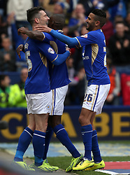 Leicester City's David Nugent celebrates scoring  the first goal  - Photo mandatory by-line: Matt Bunn/JMP - Tel: Mobile: 07966 386802 -19/04/2014 - SPORT - FOOTBALL - King Power Stadium- Leicester - Leicester City v Queens Park Rangers- Sky Bet Championship