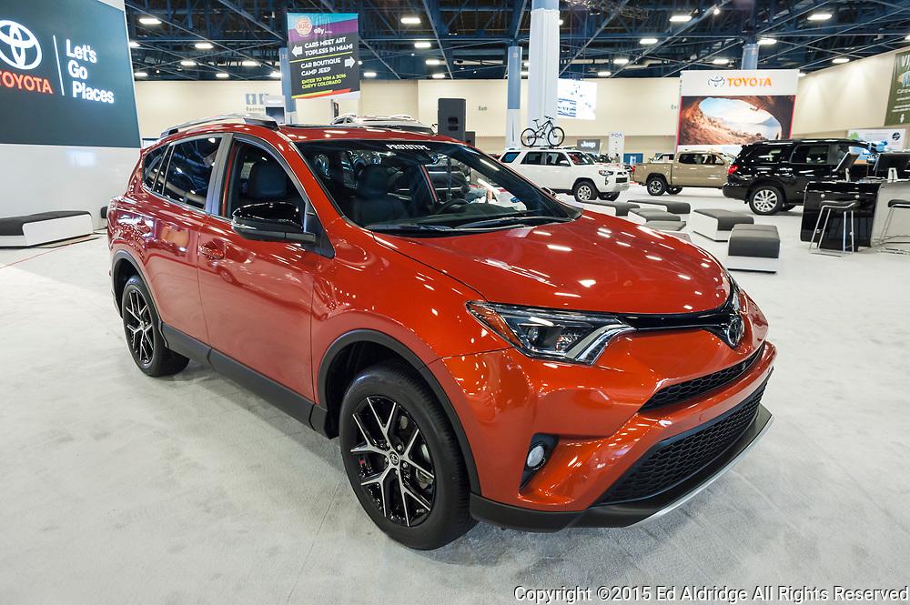 MIAMI BEACH, FL, USA - NOVEMBER 6, 2015: Toyota RAV4  on display during the 2015 Miami International Auto Show at the Miami Beach Convention Center in downtown Miami Beach.
