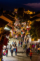 Fuxung Lu, the main pedestrian street through the Old Town (Dali Gucheng) of Dali, Yunnan Province, China.