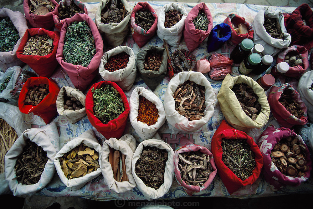 "A ""barefoot doctor's"" (traditional healer's) display of herbs and roots in the Sunday market in Menghan village, Xishaungbanna, China. Image from the book project Man Eating Bugs: The Art and Science of Eating Insects."
