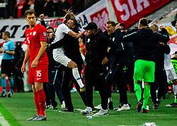Rene Krhin and Milivoje Novakovic of Slovenia celebrates during the 2020 UEFA European Championships group G qualifying match between Slovenia and Poland at SRC Stozice on September 6, 2019 in Ljubljana, Slovenia. Photo by Vid Ponikvar / Sportida