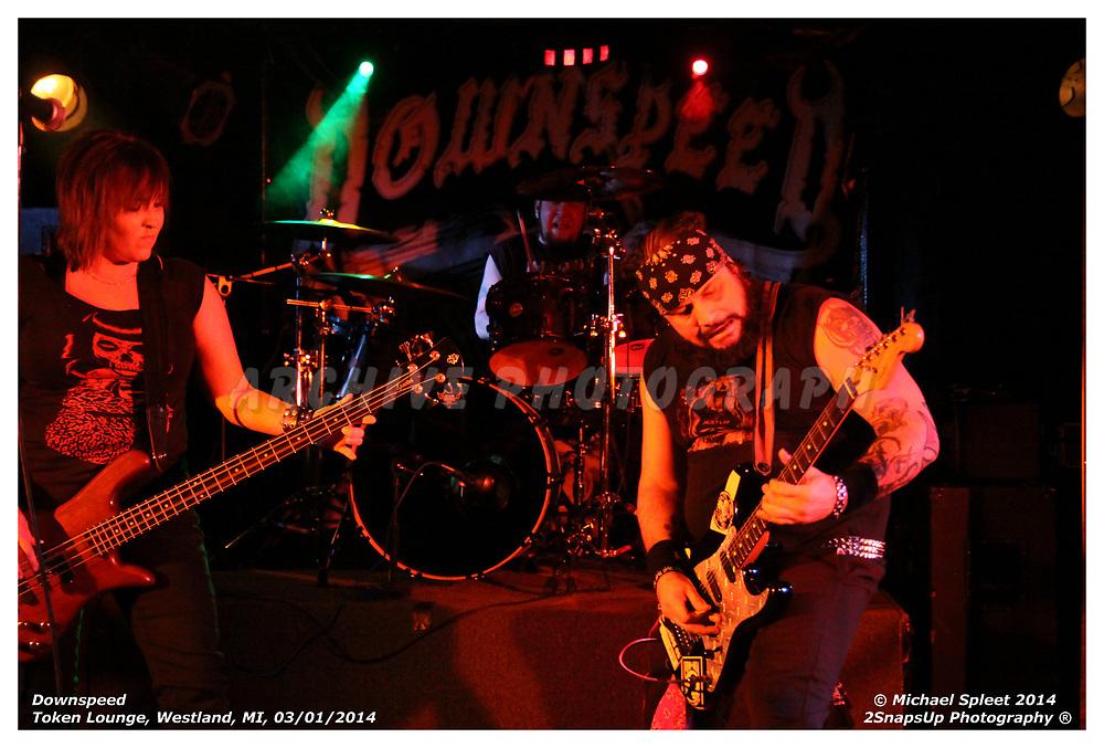 WESTLAND, MI, SATURDAY, MARCH 01, 2014: Downspeed, at Token Lounge, Westland, MI, 03/01/2014.  (Image Credit: Michael Spleet / 2SnapsUp Photography)