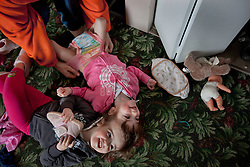 Four-year-old craniopagus twins Tatiana and Krista Hogan are seen in their home in Vernon, British Columbia, Canada, Feb. 28, 2011. The twins, born Oct. 25, 2006 to parents Felicia Simms and Brendan Hogan, are connected at the head and share a brain. Neurologists say the twins are the only such set that have a common neurological connection.