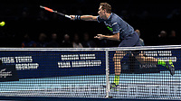 Tennis - 2017 Nitto ATP Finals at The O2 - Day Seven<br /> <br /> Mens Doubles: Semi Final 2 : Jamie Murray (Great Britain) & Bruno Soares (Brazil) Vs Henri Kontinen (Finland) & John Peers (Australia) <br /> <br /> Henri Kontinen (Finland) smashes the ball over the net at the O2 Arena<br /> <br /> COLORSPORT/DANIEL BEARHAM