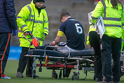 Raith Rovers Kyle Benedictus of injured. Raith Rovers 0 v 1 Arbroath. Scottish Football League Division One game played 16/2/2109 at Stark's Park.
