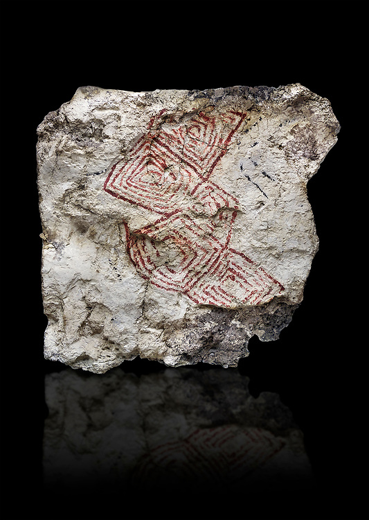 Geometric wall painting fragment found in 1999 in building 2, space 117, level IX. Unit no 4223X1. Catalhoyuk collection, Konya Archaeological Museum, Turkey. Against a black background .<br /> <br /> (updated 2021) Add photos of Catalhoyuk Antiquities using ADD TO CART button as royalty free download or prints or download from our ALAMY STOCK LIBRARY page at https://www.alamy.com/portfolio/paul-williams-funkystock - Scroll down and type -  Catalhoyuk  - into LOWER search box. (TIP - Refine search by adding a background colour as well).<br /> <br /> Visit our PREHISTORIC PLACES PHOTO COLLECTIONS for more  photos to download or buy as prints https://funkystock.photoshelter.com/gallery-collection/Prehistoric-Neolithic-Sites-Art-Artefacts-Pictures-Photos/C0000tfxw63zrUT4