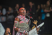 Laura Mvula plays the Pyramid stage - The 2016 Glastonbury Festival, Worthy Farm, Glastonbury.