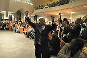 11/4/08 8:39:52 PM -- Atlanta, GA<br /> Congressman John Lewis celebrates Barack Obama taking Pennsylvania at Election Watch Night at  Ebenezer Baptist Church in Atlanta.<br /> <br /> <br /> Photo by Michael  A. Schwarz, USA TODAY