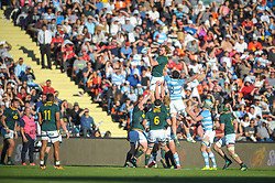 August 25, 2018. Malvinas Argentinas Stadium, Mendoza, Argentina.<br /> RG SNYMAN wins a line out in the highs during the first half of the match.