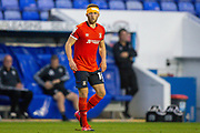 Luton Town midfielder Jordan Clark (18) with bandage on his head during the EFL Cup match between Reading and Luton Town at the Madejski Stadium, Reading, England on 15 September 2020.