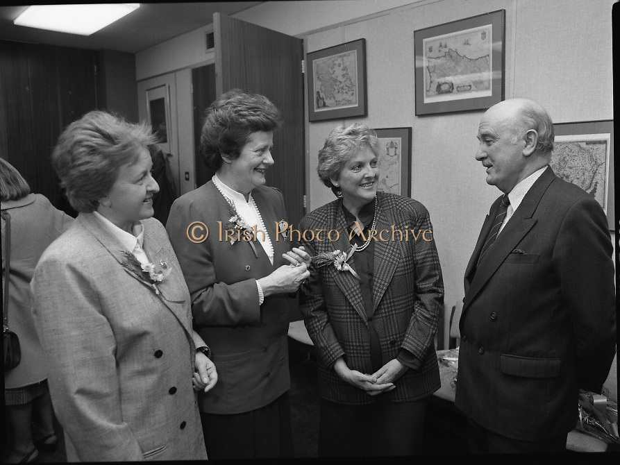 """Irish Laureate Women Of Europe Award. (T10)..1989..17.11.1989..11.17.1989..17th November 1989..Speculation regarding the Irish Laureate for the 1989 Women of Europe Award ended today when the Minister for Education, Ms Mary O'Rourke TD, announced that the Irish Laureate for this year is Grainne Kenny. Founder member of EURAD (Europe Against Drugs), and well known for her work as """"The drugs lady"""" in Ireland, Grainne Kenny has been involved in the fight against drugs since 1980. She helped form CAD, Community Action and Drugs and later EURAD. EURAD is has the active co-operation of both the European Commission and Parliament...Image shows (L-R), Ms Particia Lawlor, Director, irish Council of the European Movement, Minister for Education, Mary O'Rourke TD, Grainne Kenny, Irish Laureate and Ted Kenny (husband of Grainne) at the award ceremony."""