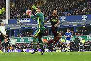 Everton Goalkeeper Joel Robles claims the ball ahead of Raheem Sterling of Manchester City. Premier league match, Everton v Manchester City at Goodison Park in Liverpool, Merseyside on Sunday 15th January 2017.<br /> pic by Chris Stading, Andrew Orchard sports photography.