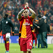 Galatasaray's Wesley Sneijder during their UEFA Champions League Quarter-finals, Second leg match Galatasaray between Real Madrid at the TT Arena AliSamiYen Spor Kompleksi in Istanbul, Turkey on Tuesday 09 April 2013. Photo by Aykut AKICI/TURKPIX