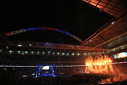 29 April 2017 - Boxing - Anthony Joshua v Wladimir Klitschko (IBF and WBA heavyweight) - Anthony Joshua makes his Wembley entrance to a backdrop of fireworks and pyrotechnics - Photo: Marc Atkins / Offside.