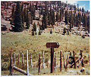 View of sign post or mile post in Dolores area.<br /> RGS  Dolores area, CO