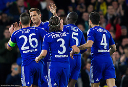 John Terry of Chelsea, Nemanja Matić of Chelsea, Filipe Luís of Chelsea, Kurt Zouma of Chelsea and Cesc Fàbregas of Chelsea celebrate after first goal during football match between Chelsea FC and NK Maribor, SLO in Group G of Group Stage of UEFA Champions League 2014/15, on October 21, 2014 in Stamford Bridge Stadium, London, Great Britain. Photo by Vid Ponikvar / Sportida.com