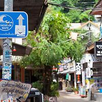 Tsunami evacuation sign in Koh Phi Phi Leh.