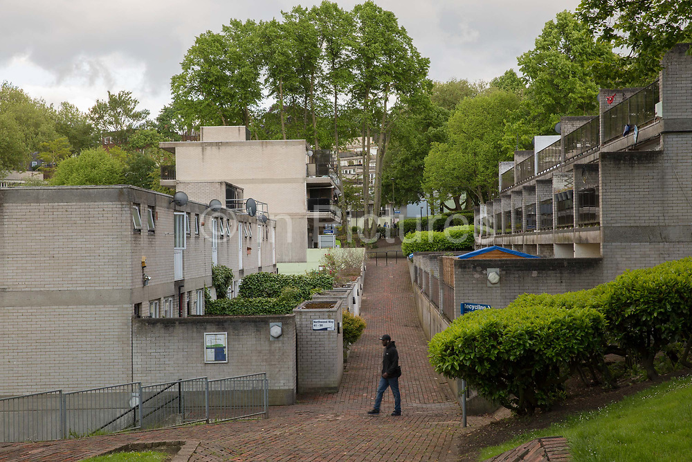 Central Hill Estate on 24th May 2016 in South London, United Kingdom. Central Hill is a low-rise estate of more than 450 homes in Crystal Palace in South London and has been recommended for demolition under Lambeth Council estate regeneration plan. The housing scheme, builtbetween 1966 and1974, was designed by Rosemary Stjernstedt under Lambeth Council's director of architecture,Ted Hollamby.