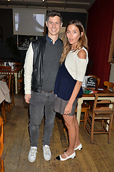 GEORGE NORTHCOTT and QUENTIN JONES at a quiz night hosted by Zoe Jordan to celebrate the launch of her men's ZJKNITLAB collection held at The Larrick Pub, 32 Crawford Place, London on 20th April 2016.