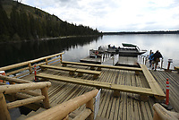 A new Jenny Lake boat launch on the west shore of the lake, built in late 2016 as part of the Jenny Lake Renewal Project.