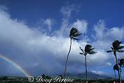 rainbow over West Maui mountains as seen from<br /> Kaanapali, Maui,<br /> Hawaii, USA