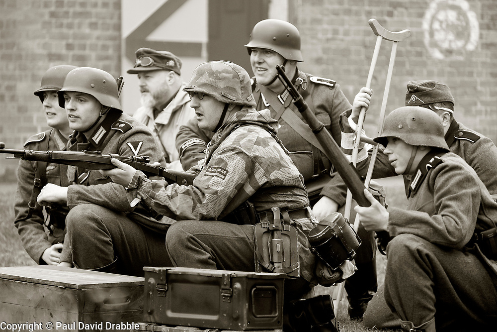 Greman Heer troops await the onslaught, battle reenactment Nww2A Fort Paull<br /> <br />  Copyright Paul David Drabble<br /> 5th & 6th May 2019<br />  www.pauldaviddrabble.co.uk