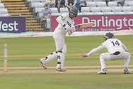 Hassan Azad batting with Cameron Steel at short leg during the Specsavers County Champ Div 2 match between Durham County Cricket Club and Leicestershire County Cricket Club at the Emirates Durham ICG Ground, Chester-le-Street, United Kingdom on 20 August 2019.