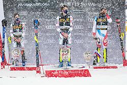 Muffat Jeandet Victor (FRA) 2nd, Noel Clement (FRA) 1st, Zenhaeusern Ramon (SUI) 3rd during trophy ceremony at the Audi FIS Alpine Ski World Cup Men's  Slalom at 60th Vitranc Cup 2021 on March 14, 2021 in Podkoren, Kranjska Gora, Slovenia Photo by Grega Valancic / Sportida