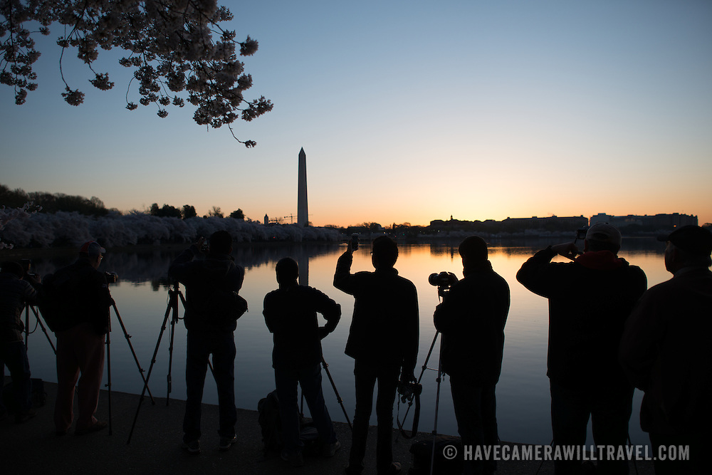 People line up along the waterfront of the still waters of the Tidal Basin before dawn during the blooming of the famous cherry blossoms in Washington DC. The Washington Monument is in the background.