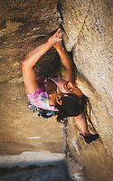 Shiho Kobayashi keeps her fear in check on Terror of Tiny Town, 5.11, City of Rocks National Reserve, Idaho.