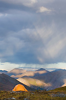 Approaching rain showers from backcountry camp in Tombstone Territorial Park Yukon Canada