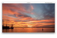 Presque Isle Bay under an orange sunset sky during the Perry 200 Commemoration, September 2013, Erie Pennsylvania, USA