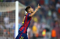 Neymar Jr of FC Barcelona celebrates after scoring his side's opening goal during the UEFA Champions League, Group F, football match between FC Barcelona and Ajax Amsterdam on October 21, 2014 at Camp Nou Stadium in Barcelona, Spain. Photo MANUEL BLONDEAU / AOP PRESS / DPPI