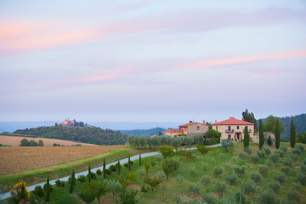 Europe, Italy, Tuscany, Volterra, Stone Farm houses, hotel and orchard