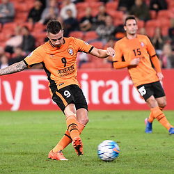 BRISBANE, AUSTRALIA - MAY 10: Jamie MacLaren of the Roar scores a goal during the Asian Champions League Group Stage match between the Brisbane Roar and Ulsan Hyundai at Suncorp Stadium on May 10, 2017 in Brisbane, Australia. (Photo by Patrick Kearney/Brisbane Roar)