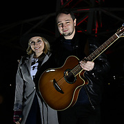 Milli Hannington and Chris Boom preforms Sleep Out fundraiser to help homeless young people at Greenwich Peninsula Quay on 15 November 2018, London, UK.