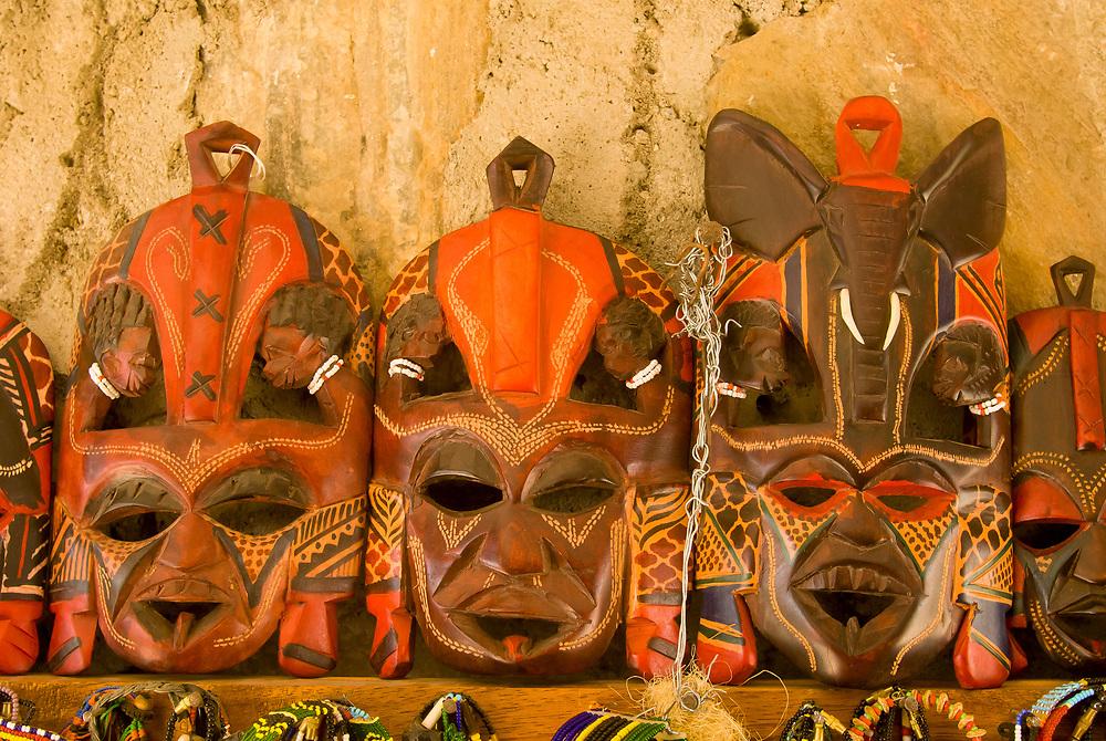 Maasai handicrafts at an outdoor market, Olduvai Gorge Museum, Olduvai Gorge, Ngorongoro Conservation Area, Tanzania