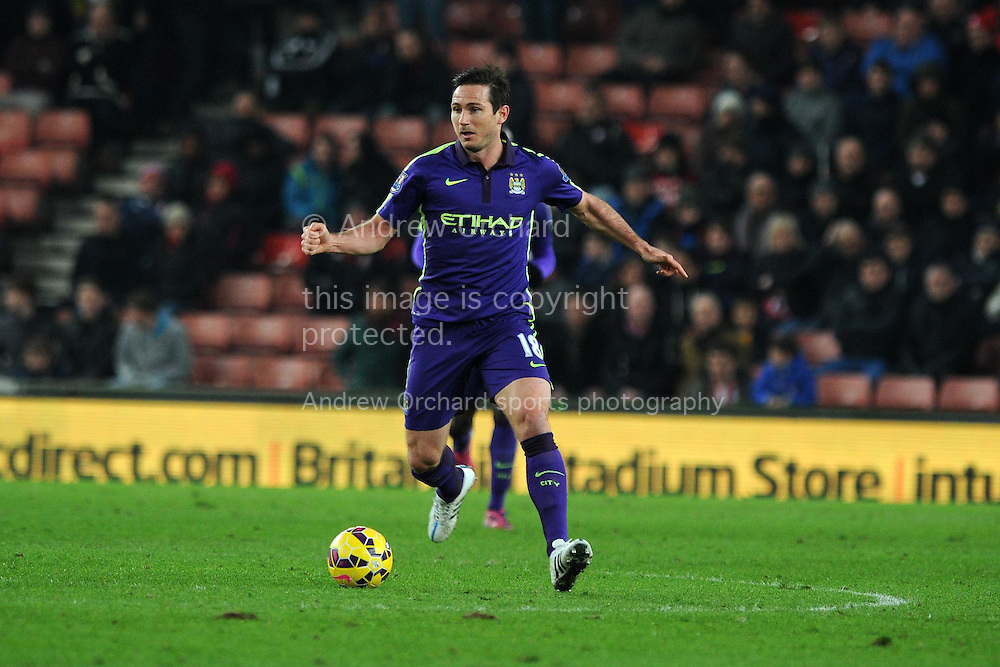 Frank Lampard of Manchester city in action.Barclays Premier League match, Stoke city v Manchester city at the Britannia Stadium in Stoke on Trent , Staffs on Wed 11th Feb 2015.<br /> pic by Andrew Orchard, Andrew Orchard sports photography.
