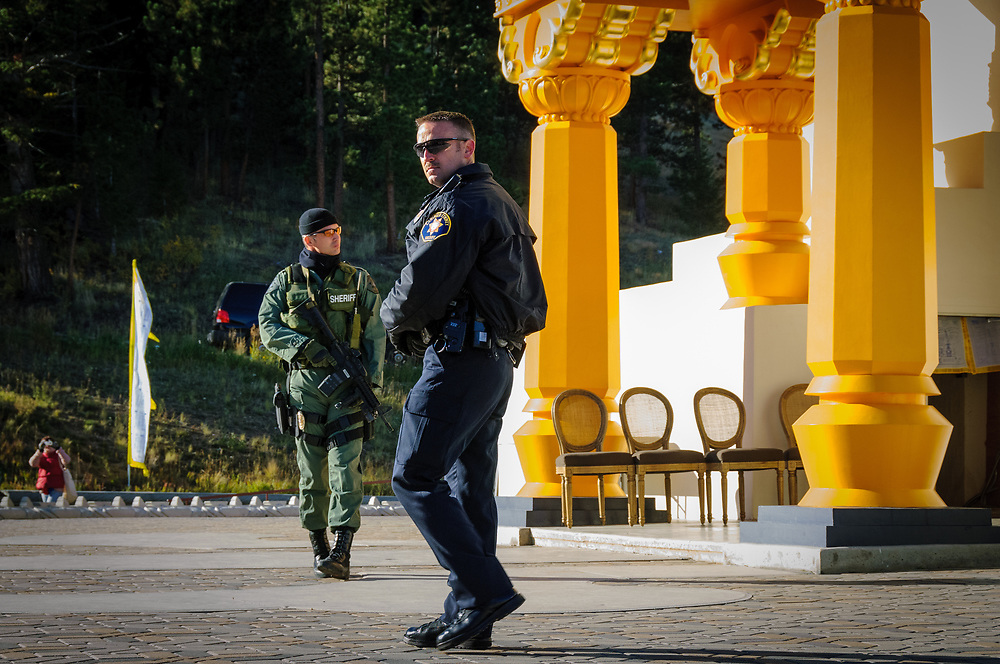 A heavy security presence for the Dalai Lama's visit to The Great Stupa of Dharmakaya.