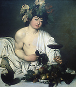 Bacchus' c1597.  Ancient Roman god of wine (Dionysius in the Greek pantheon),  seated as at a banquet, with wreath of vine leaves, holding drinking vessel.  Michelangelo Merisi de Caravaggio (1573-1610). Italian painter. Oil on canvas.