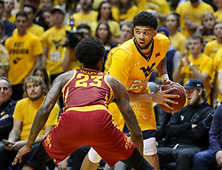 Feb 24, 2018; Morgantown, WV, USA; West Virginia Mountaineers forward Esa Ahmad (23) looks to pass from the corner during the second half against the Iowa State Cyclones at WVU Coliseum. Mandatory Credit: Ben Queen-USA TODAY Sports