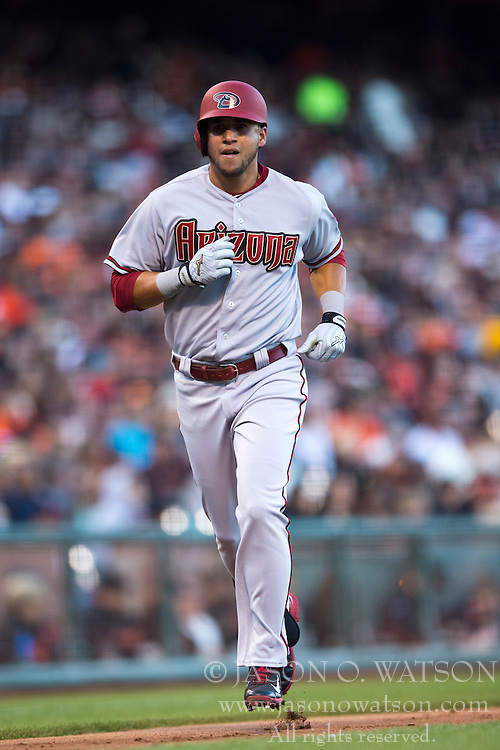 SAN FRANCISCO, CA - APRIL 18:  David Peralta #6 of the Arizona Diamondbacks rounds the bases after hitting a home run against the San Francisco Giants during the fourth inning at AT&T Park on April 18, 2015 in San Francisco, California.  (Photo by Jason O. Watson/Getty Images) *** Local Caption *** David Peralta