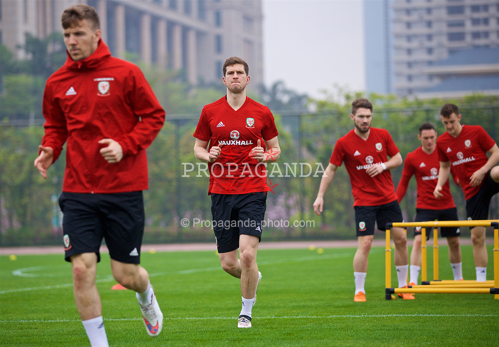 NANNING, CHINA - Saturday, March 24, 2018: Wales' Chris Mepham during a training session at the Guangxi Sports Centre ahead of the 2018 Gree China Cup International Football Championship final match against Uruguay. (Pic by David Rawcliffe/Propaganda)