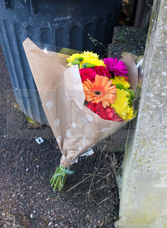 © Licensed to London News Pictures. 13/11/2018. London, UK.  Flowers left this morning outside a house in Applegarth Drive, Ilford where a murder investigation has been launched in Redbridge following the death of a 35 year old woman. Police were called at approximately 07:40hrs on Monday 12th November to reports of a disturbance at an address in Applegarth Drive, Ilford where police and ambulance services attended and found a 35-year-old woman suffering an abdominal wound/injury who was taken to an east London hospital, where she was sadly pronounced dead at 11am. A 50-year-old man was arrested at the scene on suspicion of attempted murder and taken to an east London police station where he was subsequently further arrested for murder..  Photo credit: Vickie Flores/LNP