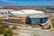 The Chesapeake Energy Arena aerial in downtown Oklahoma City on Sunday, April 5, 2020. The arena is home to the NBA's Oklahoma City Thunder basketball team. Photo copyright © 2020 Alonzo J. Adams.
