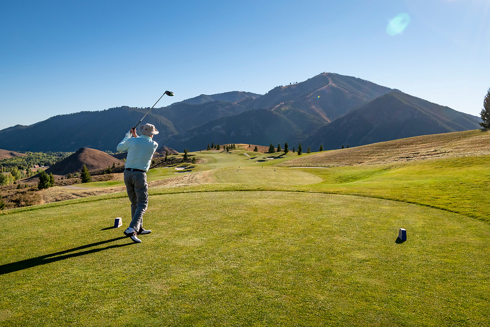 Afternoon Golf on Sun Valley's White Cloud 9 Course with Baldy Mountain looming in background from the Par 5 #4 Hole.  Licensing and Open Edition Prints.